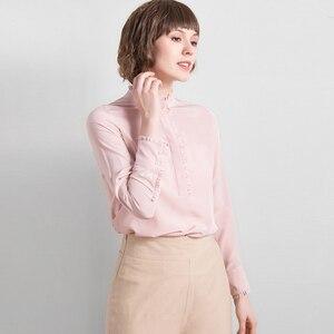Image 3 - 100% schwerer Seide Bluse Frauen Hemd Elegante Patch Einfache Design Lange Ärmel Büro Arbeit Top Anmutigen Stil Neue Mode 2018