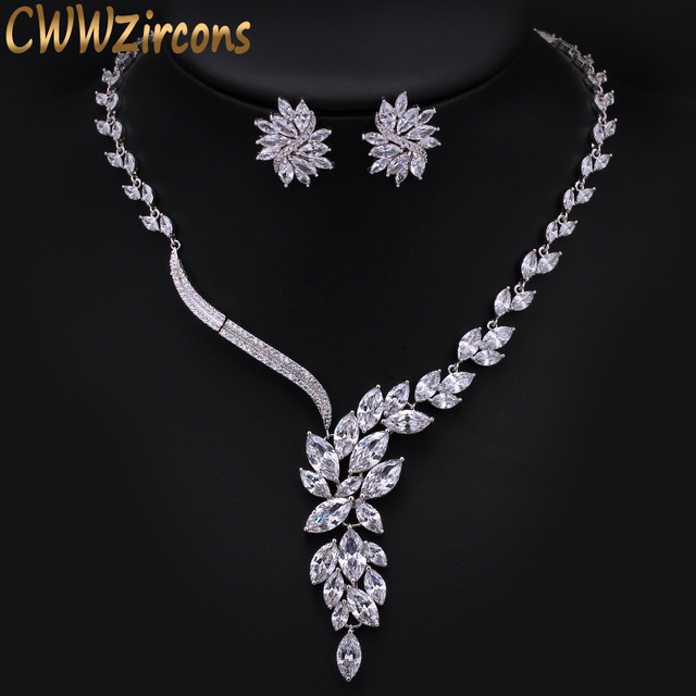 CWWZircons Gorgeous Dropping Flower Cubic Zirconia Paved Luxury Bridal Wedding Costume Necklace Jewelry Sets for Brides T048
