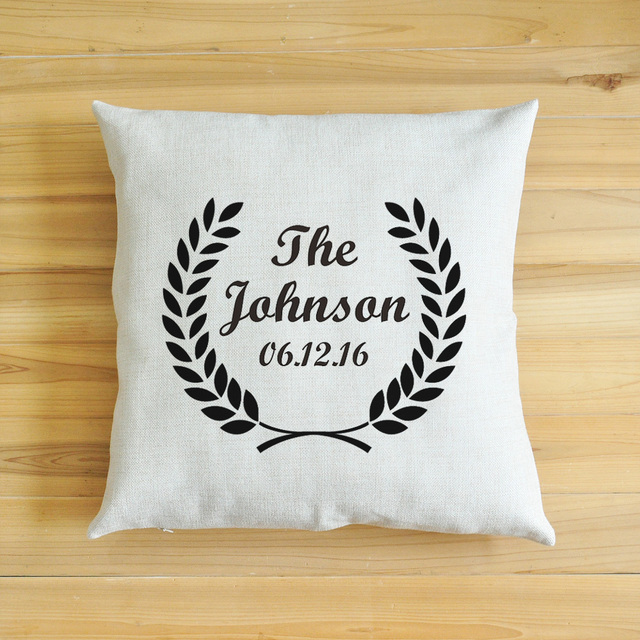 Us 6 99 Personalized Pillow Square Pillow Personalized Cushion Last Name And Date Pillow Custom Pillow Custom Housewarming Gift In Cushion From
