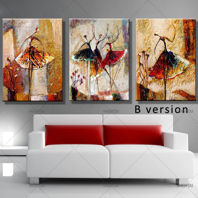Hand Painted Canvas Oil Painting 3 Panel Set Modern Abstract Dancing Girl Home Decoration Wall Art