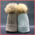 2016 new 100% raccoon fur Autumn and winter 15cm ball Knitting wool cap Keep warm pointy hat woman Thick warm Skullies & Beanies