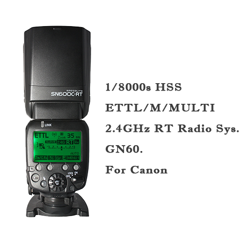 SHANNY SN600C RT 2.4G Wireless Flash Speedlite HSS 1/8000s Radio TTL on camera GN60 For Canon RT With Built In Radio