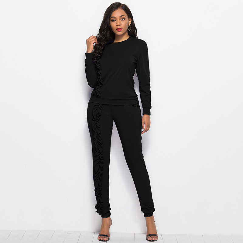 2019 Autumn New Solid Two Piece Sets Women Long Sleeve Round Neck Tops Trousers Ruffles Tracksuit Set 2 Piece Sets Ladies Suits 34