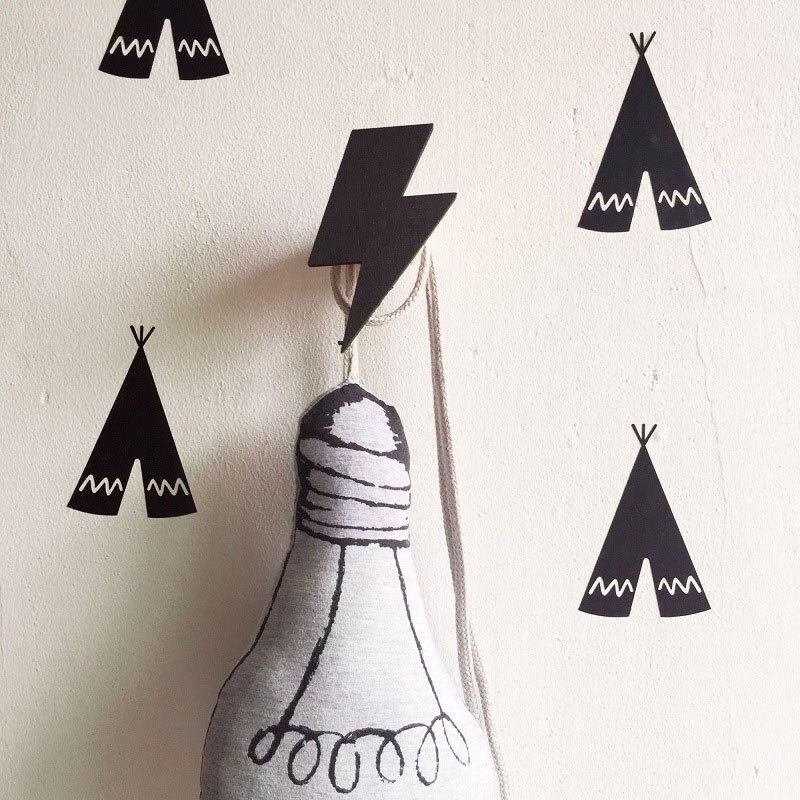 Nordic Style Wooden Wall Hook For Kids Room Decoration Organizer Baby Clothes Hat Coat Hanger Hooks Behind Door Key Holder