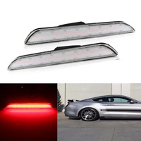 2x Clear Lens Rear Side Marker Lamps with 48 SMD Red LED Lights For Ford Mustang 2015 2016 2017 2018 2019