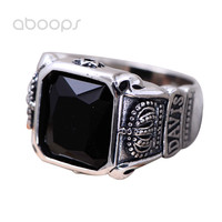 Vintage Black 925 Sterling Silver Crown Ring with Onyx for Men Boys Size 8 9 10 11 Free Shipping