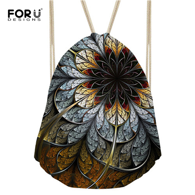 FORUDESIGNS Unique Flower Printing Women s Drawstring Bag Small Girls  Casual Backpack Multifunction Female Cinch Ruck Sack 65d80770f6