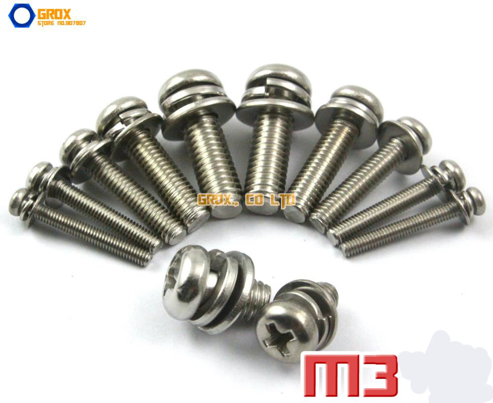 M3 304 Stainless Steel Phillips Pan Head Machine Screw with Washer / Assembled Screw lion зубная щетка cj lion dentor systema двойной эффект очищения