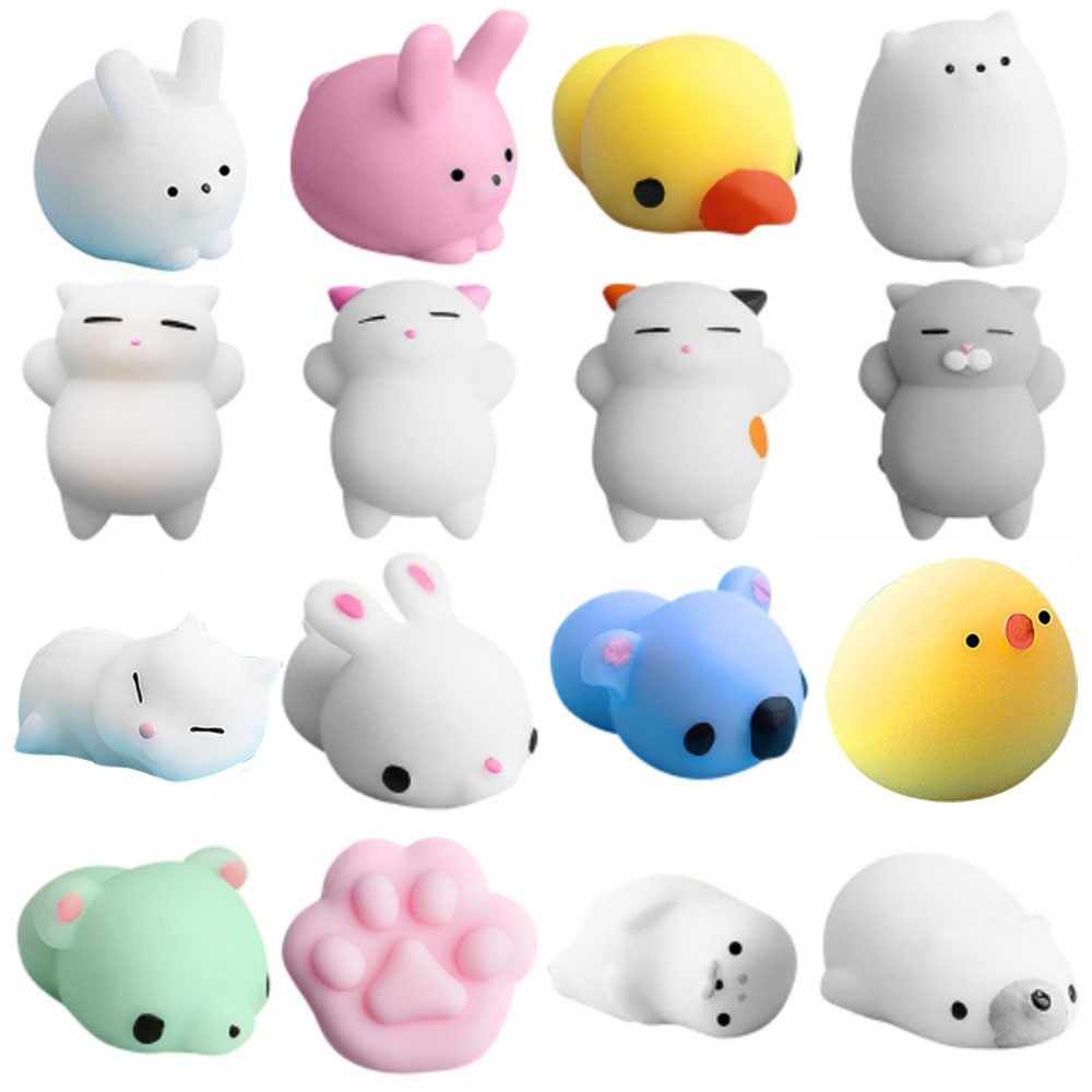 16pc Toys Set Cute Mochi Squishy Cat Squeeze Healing Fun Kids Kawaii Toy Stress Reliever Decompression Plaything Kids Gift