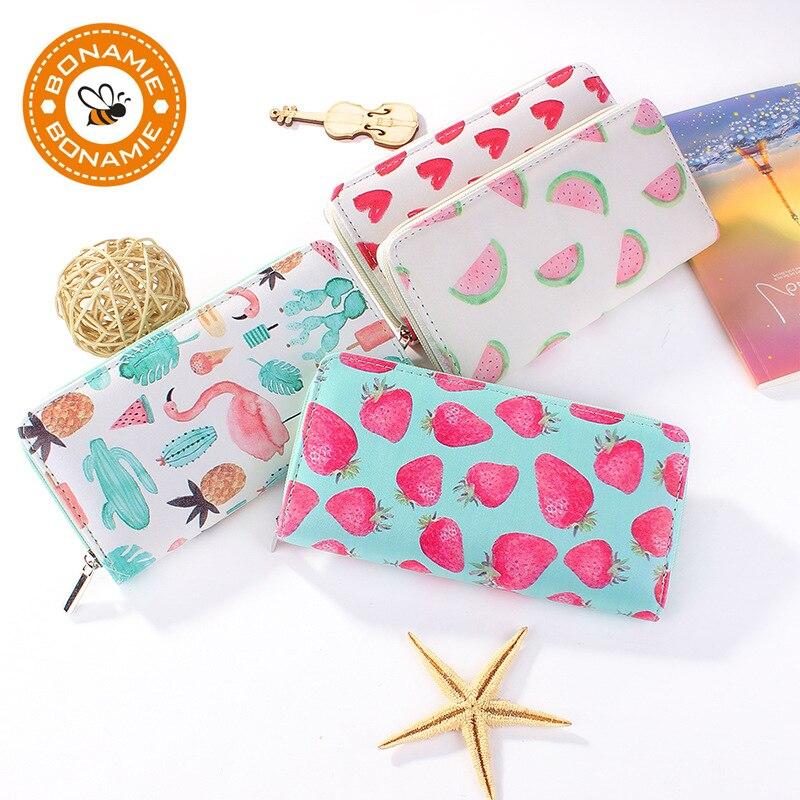 BONAMIE Novinka Vysoce kvalitní dámská kožená spojka z peněženky Značka Tisk Love Jahoda Meloun Flamingo Peněženka