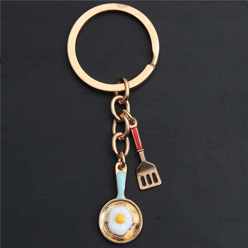 1pc Creative Kitchen Tools Chef Souvenir Gift Keychain Kc Gold Shovel Pan Egg Pendant Mother's Day Keyring E2152