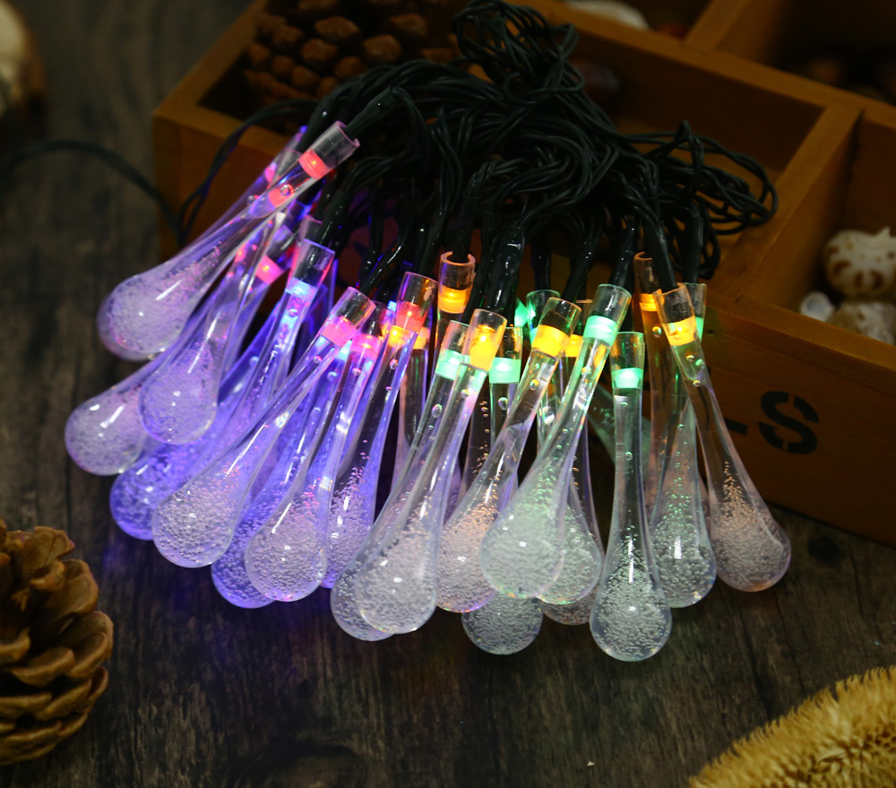 Outdoor String Lights Aliexpress : Solar Powered Led Outdoor String Lights 7M 30 LEDs Waterproof Water Drop Light for Outside ...