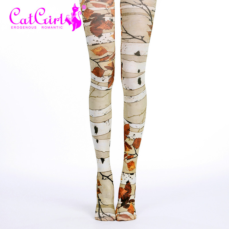 RUIN Women's Tights Women's Pantyhose Fallen Leaves Printed Tights Girls Tights