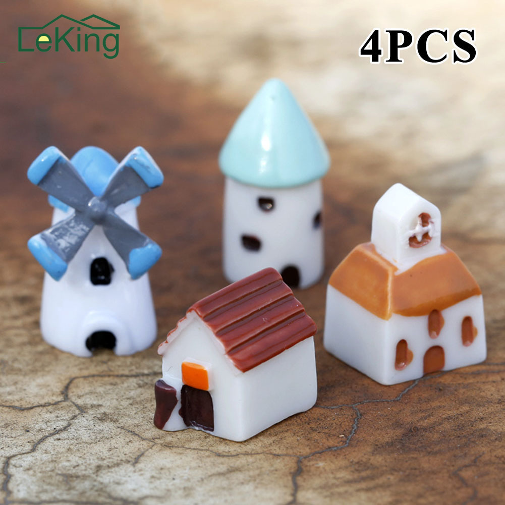 4pcs /set Mini Resin Church Castle Windmill Shed Cabin House Fairy Garden Home Decoration Craft Micro Cottage Micro Landscape
