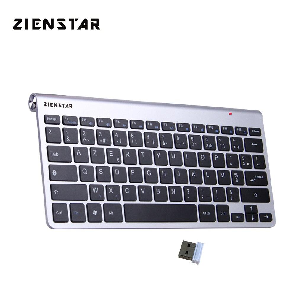 Zienstar AZERTY Français Langue Ultra Mince 2.4g Sans Fil Clavier pour Macbook/PC Ordinateur/Ordinateur Portable/Smart TV avec USB Récepteur