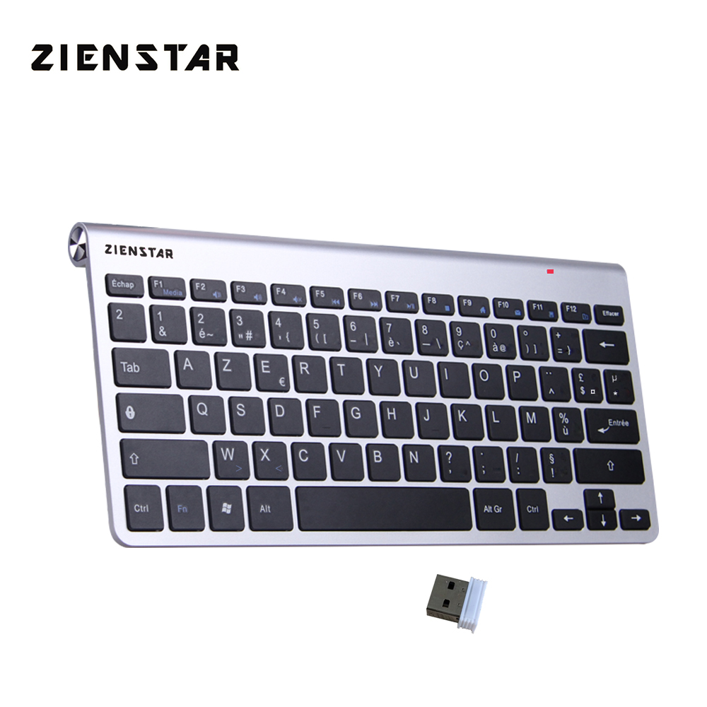 Zienstar AZERTY French Language Ultra Slim 2.4G Wireless Keyboard For Macbook/PC Computer/Laptop / Smart TV With USB Receiver