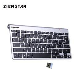 Zienstar AZERTY ультратонкая Беспроводная Клавиатура 2,4 ГГц на французском языке для Macbook/ПК/ноутбука/Smart TV с usb-ресивером