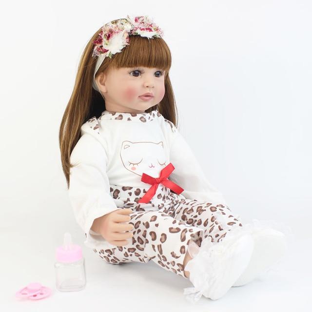 60cm Soft Silicone Reborn Baby Doll Toy Vinyl Princess Toddler Babies Clothe Body Alive Bebe Boneca
