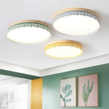 Nordic houten slaapkamer plafondlamp warm ronde moderne eenvoudige smeedijzeren acryl multicolor woonkamer studie lamp mx6091359