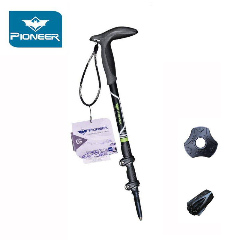 PIONEER 49CM-100CM Folding Trekking Poles Carbon Fiber Nordic Walking Stick 3 Section Adjustable Telescopic Canes Hiking Stick