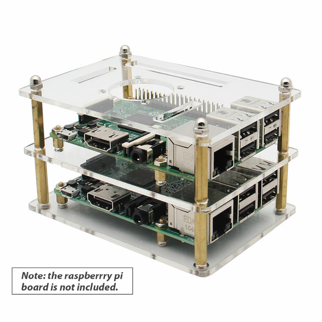 Raspberry Pi 2-layers Transparent Acrylic Case Protective Shell for Raspberry Pi 3 Model B+(plus) / 3B / 2B / B+