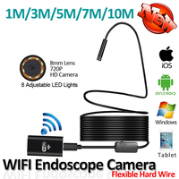 8LED 10M Hard Flexible Snake USB WIFI Endoscope Camera HD720P 8mm OD 2MP Iphone Endoscope Pipe