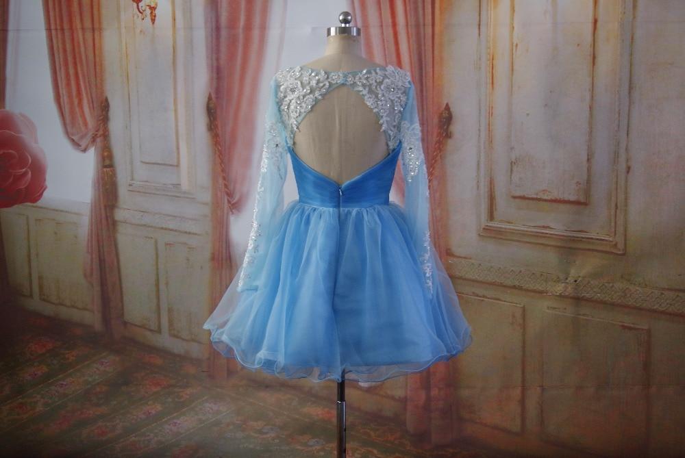 Azul de Manga Larga vestidos de Coctel Cortos Juniors Vestidos de Fiesta Espalda
