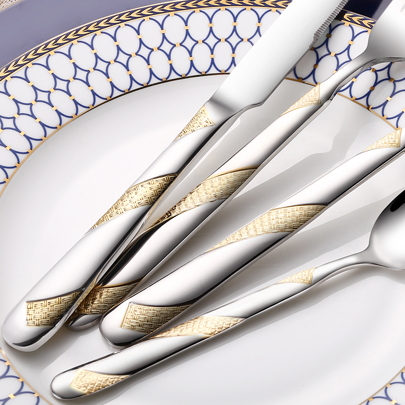 24Pcs Stainless Steel Gold Plated Cutlery Set Dinnerware Tableware Silverware Dishwasher Safe  Dinner Fork Knife Drop Shipping 5