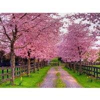 Cherry Blossom Park Needlework 3D Mosaic Diamond Embroidery Landscape Painting Rhinestones Home Decor Hobbies And
