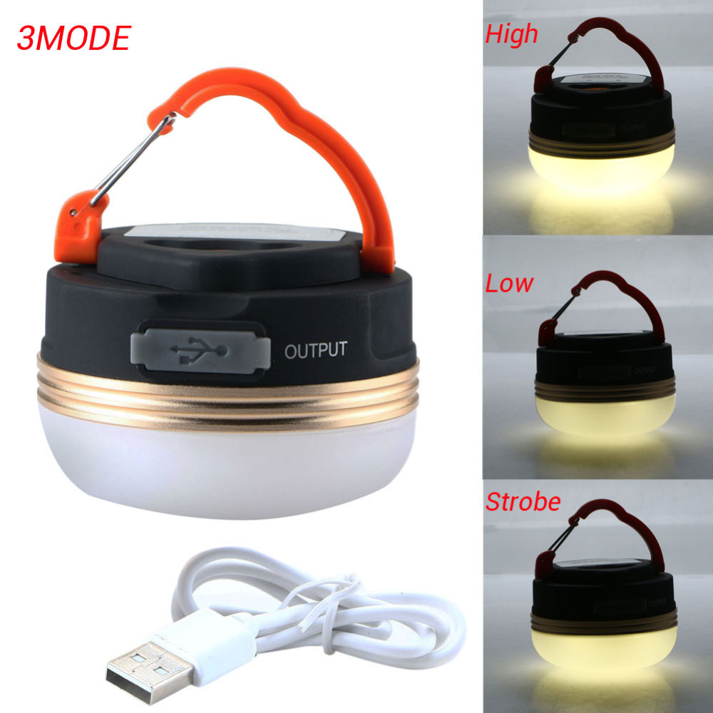 Mini Portable Camping Lights 3W LED Camping Lantern Waterproof Tents lamp Outdoor Hiking Night Hanging lamp USB Rechargeable in Portable Lanterns from Lights Lighting
