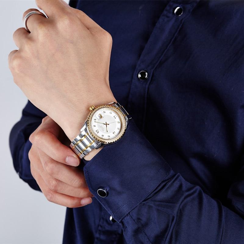 Reloj de pulsera de cuarzo Montre Homme, de marca dorada de lujo, para hombre, relojes impermeables para hombre, reloj de acero inoxidable para negocios - 6