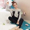 Venta caliente de Manga Larga Dama Conjunto Pijama de Algodón Pijamas Mujeres Pijama Mujer Gato Negro de la ropa de Noche Homewear para Mujer Regalo M-2XL
