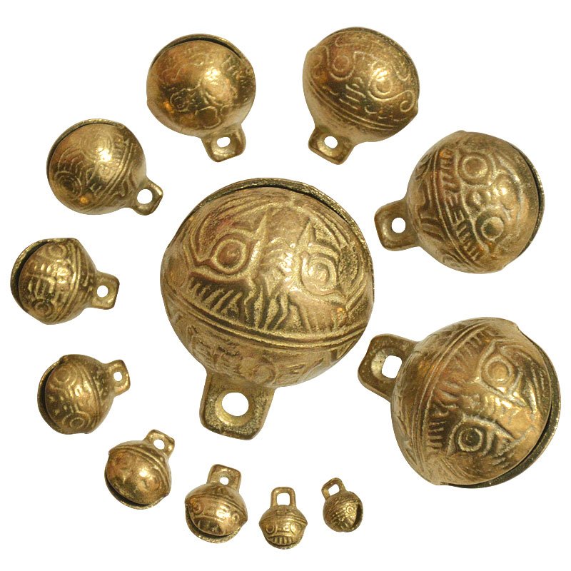 100PCS Collectibles 9mm*12mm Tibetan Brass Craft Tiger/'s Head Bells Feng Shui