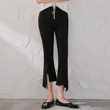 Split casual flare pants Korean version of high waist stretch fashion temperament nine pants women wide leg plus size trousers цена 2017