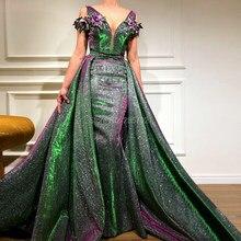 8c1d624a77 Vestidos de festa 3D flor Africana Vestidos de baile árabe Dubai musulmana  vestido de noche Formal para bodas turco V cuello lar.