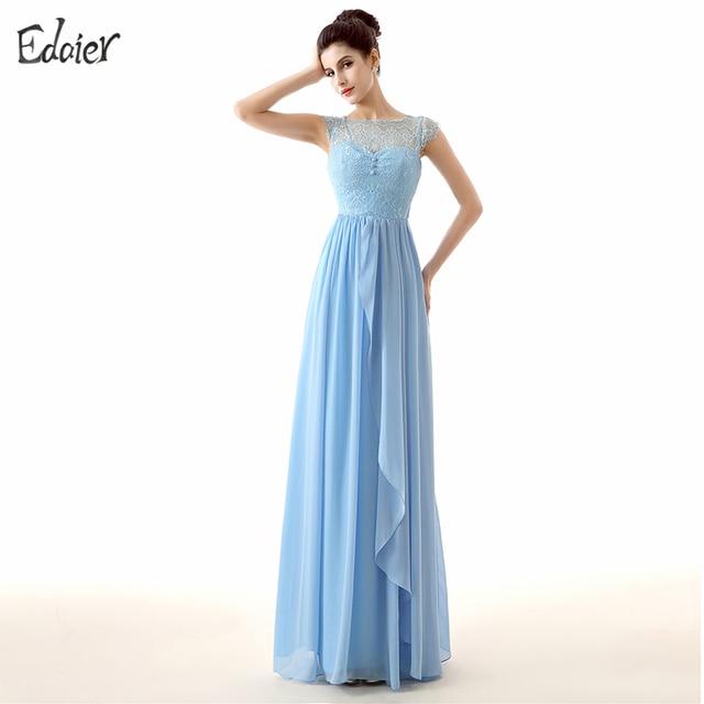 Blue Bridesmaid Dresses Long 2017 A Line Sheer Scoop Neck Cap Sleeve Lace Chiffon Cheap Wedding Party Dresses Plus Size