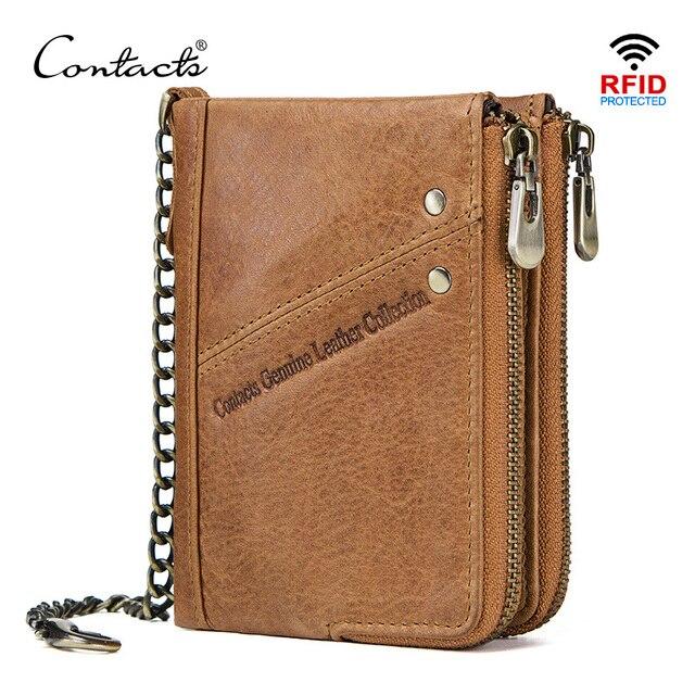 CONTACTS جلد أصلي للرجال محفظة بشريحة RFID مع مكافحة سرقة سلسلة حاملي بطاقة الذكور محفظة صغيرة مزدوجة سستة محفظة نسائية للعملات المعدنية خمر