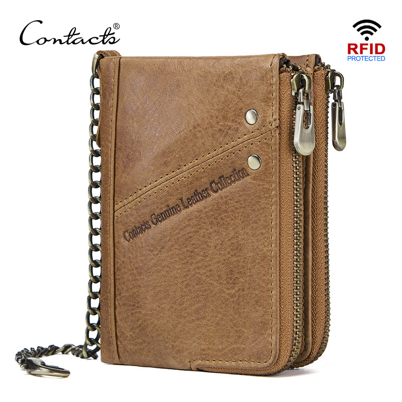 CONTACT'S Genuine Leather Men RFID Wallet With Anti Theft Chain Card Holders Male Short Wallet Double Zipper Coin Purse Vintage
