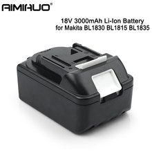 Portable BL1840 18V 3000mAh Rechargeable Li-Ion Battery for Makita Drills BL1830 BL1815 BL1835 Replacement Power Tools Battery