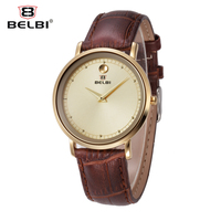 Belbi Genuine Leather Men Women Watch Waterproof Simple Style Quartz Watch Ladies Luxury Brand Dress Wristwatch