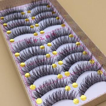 YOKPN Handmade False Eyelashes Thick Black Cotton Stretch Fake False Eyelash Lashes Makeup Tips Natural Fake Eye Lashes Q3 1