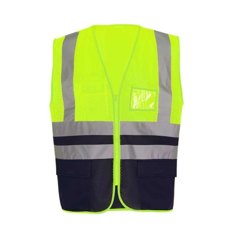 Colorblock Mesh oddychające wielu torba kamizelka odblaskowa na zamek błyskawiczny kurtka bezpieczeństwa na zewnątrz kamizelki jednolite odzież sportowa