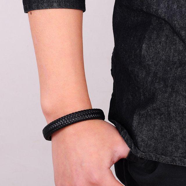 Dik Gevlochten Leren Armband - Magnetische Sluiting