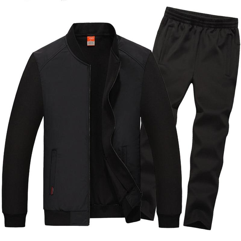 7XL 8XL Sport Suit Men Baseball Collar Sport Set New Windproof Sportsuit Plus Loose Mens Suits
