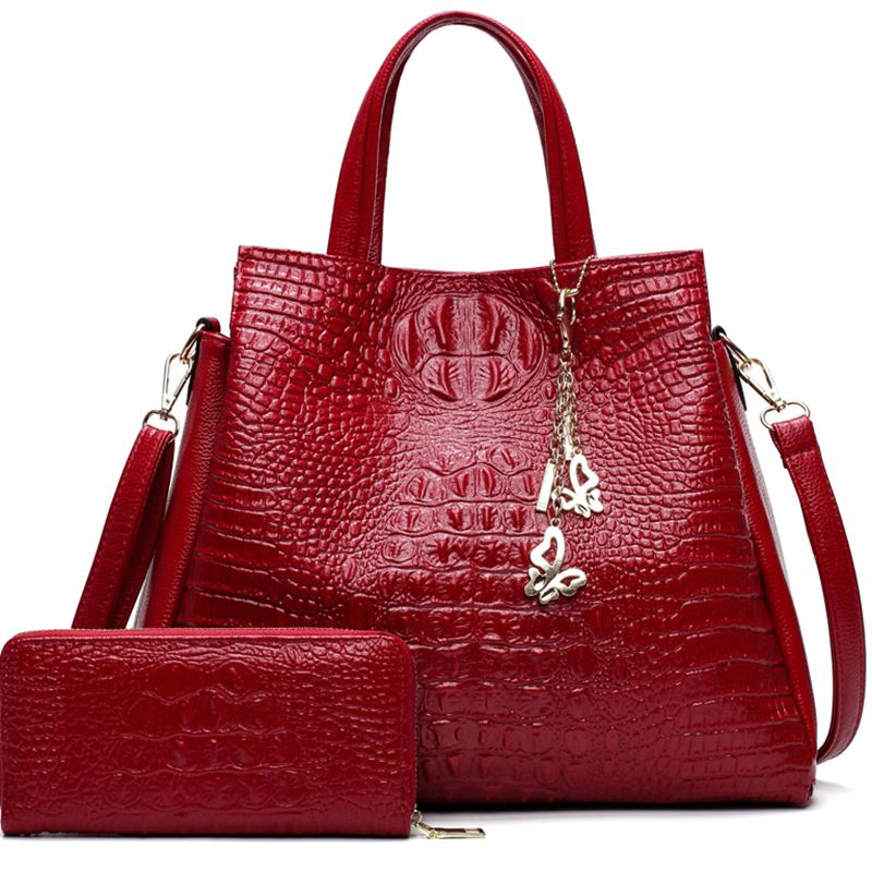 Fashion Pu Leather Two Sets Women Crocodile Pattern Messenger Bags Purse And Handbags Butterfly Tassel Leisure Tote Sac A Main Luggage & Bags Women's Bags