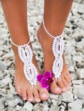 1 Pair Caliente Playa Crochet Las Sandalias Descalzas de la boda Hueco zapatos Desnudos de Pie Tobillera de Encaje Envío Gratis 4 Color Libre gratis