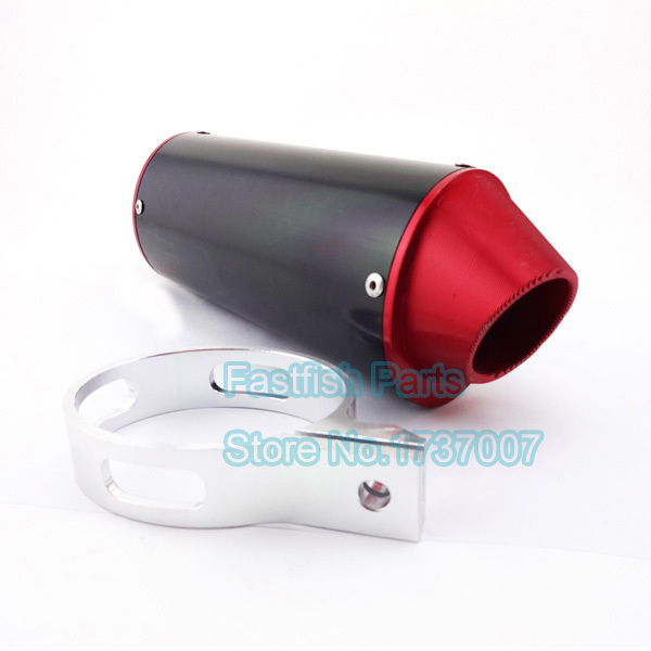CNC 38mm Red Exhaust Muffler With W Clamp For 110 cc 125 cc 140 cc 150