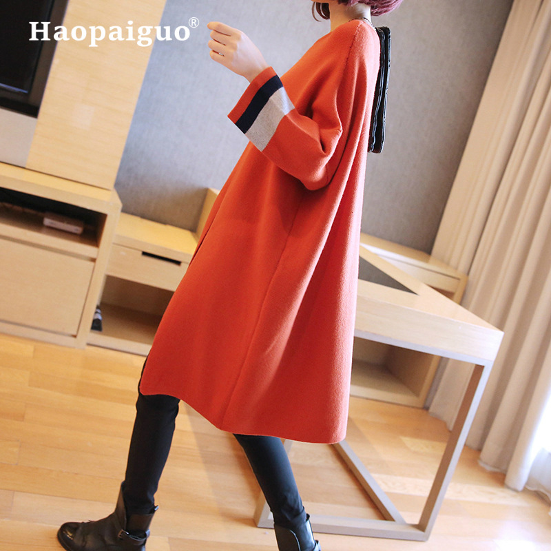 Automne hiver noir tricoté coton pull robes femmes mode lâche o-cou pull femme tricoté robe Vestidos Feminino