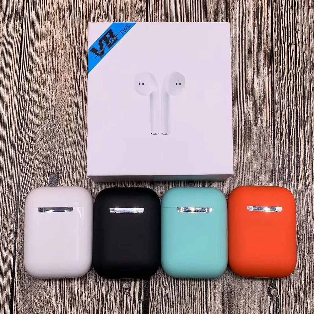 2019 Newest <font><b>V8</b></font> TWS Wireless Earbuds V5.0 <font><b>Bluetooth</b></font> Headset Ture Stereo <font><b>Earphones</b></font> with Pop-up Window Wireless Headset Earbud image