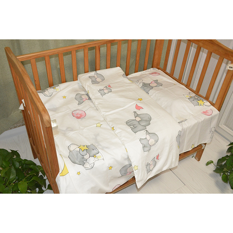 3Pcs Cotton Crib Bed Linen Kit Cartoon <font><b>Baby</b></font> <font><b>Bedding</b></font> <font><b>Set</b></font> Includes Pillowcase Bed Sheet Duvet Cover Without Filler image